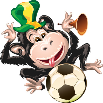 Macaco brasileiro com bola de futebol