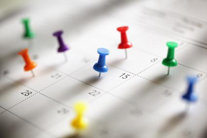 Calendário com dias do mês marcados