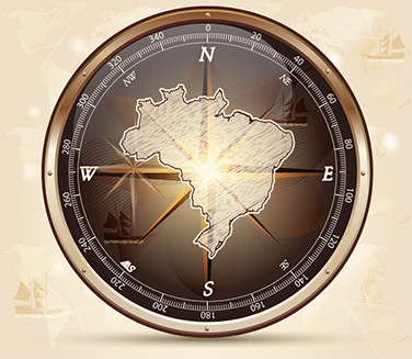 mapa do Brasil com bússola